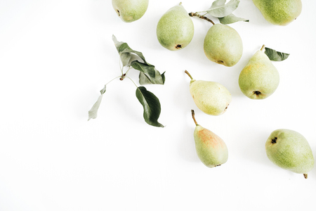 Pears on white background. Flat lay, top view. Stock Photo