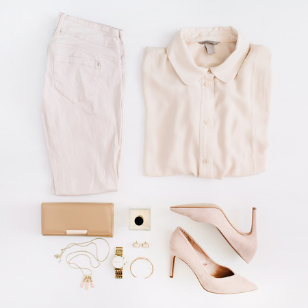 Women modern fashion clothes and accessories. Flat lay female casual style look. Top view.