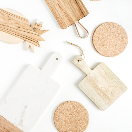 Cutting boards set. Flat lay, top view.