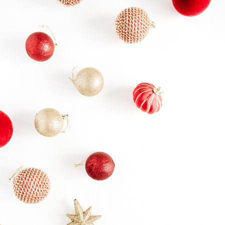 Christmas decoration balls. Flat lay, top view background.