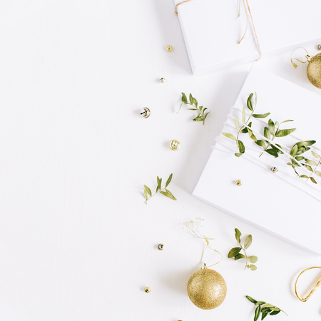 christmas gift box and decorations flat lay top view holiday composition stock photo - Christmas Gift Decorations