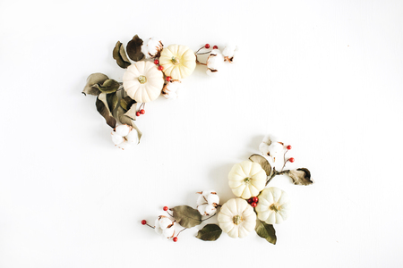 Wreath frame made of white pumpkins, red berries and eucalyptus branches on white background. Flat lay, top view autumn fall composition. Фото со стока