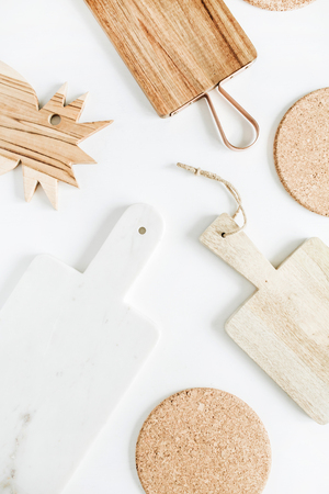 Cutting boards on white background.