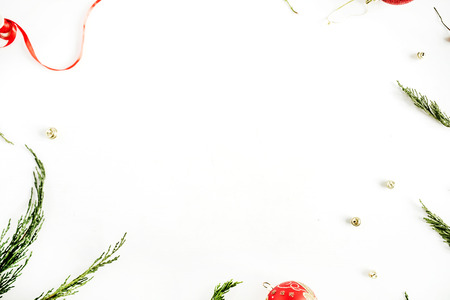 Christmas frame with colorful decoration. Flat lay, top view holiday composition. Фото со стока