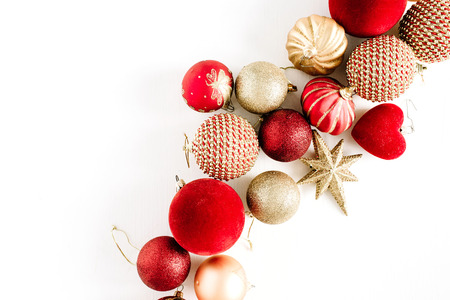 Christmas baubles. Flat lay, top view background.