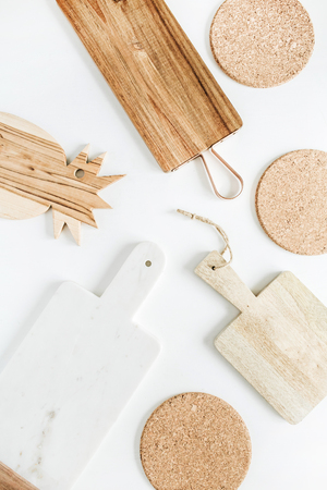Cutting boards on white background. Flat lay, top view. Stock Photo