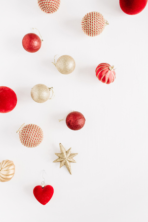 Christmas decoration baubles. Flat lay, top view background.