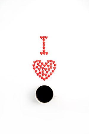 I Love coffee made of red hearts on white background. Flat lay, top view Love concept.