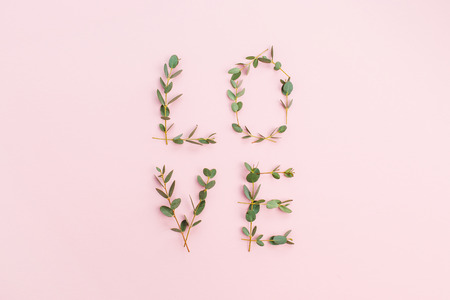 Word Love made of eucalyptus branches on pastel pink background. Valentines Day composition. Flat lay, top view.