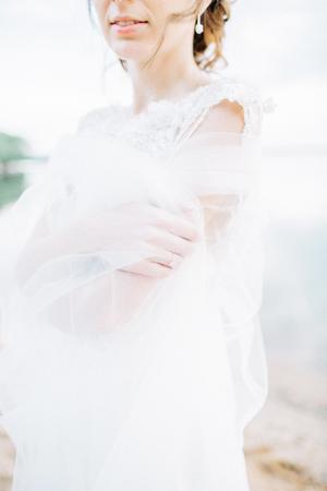 Young bride in wedding dress. Bridal fashion background. 스톡 콘텐츠