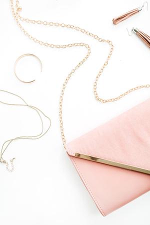 Fashion woman pink accessory set. Flat lay, top view.