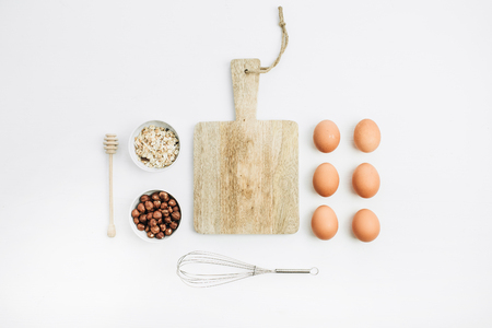 Healthy food ingredients. Cooking concept. Flat lay, top view. Фото со стока