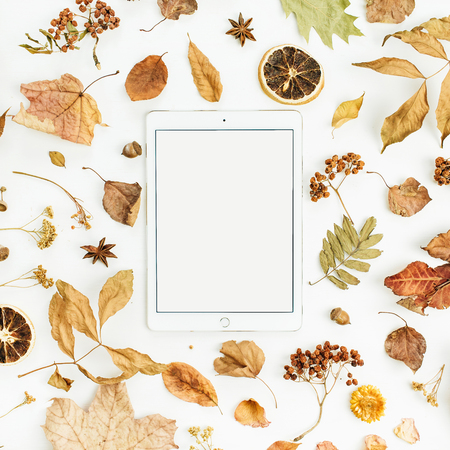 Blank screen tablet with dry fall autumn leaves, petals and oranges on white background. Flat lay, top view seasonal concept. Foto de archivo - 107405045