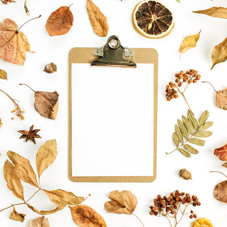 Clipboard with blank paper with dry fall autumn leaves, petals and oranges on white background. Flat lay, top view seasonal concept. Standard-Bild - 107405160