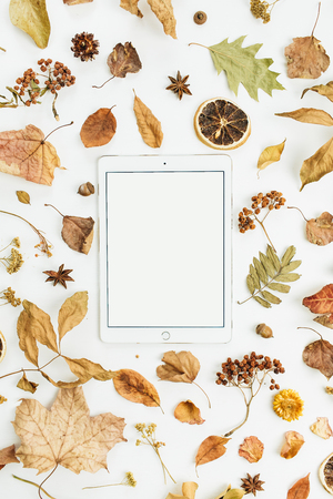 Tablet with blank screen with dry fall autumn leaves, petals and oranges on white background. Flat lay, top view seasonal concept. Foto de archivo - 108608668