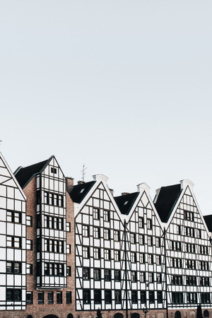 View of buildings in Old Town of Gdansk, Poland. Architecture of Eastern Europe.