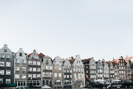 September 1, 2018 - Gdansk  Poland: Architecture of Gdansk, Poland in Old Town Center. Buildings. Stock Photo