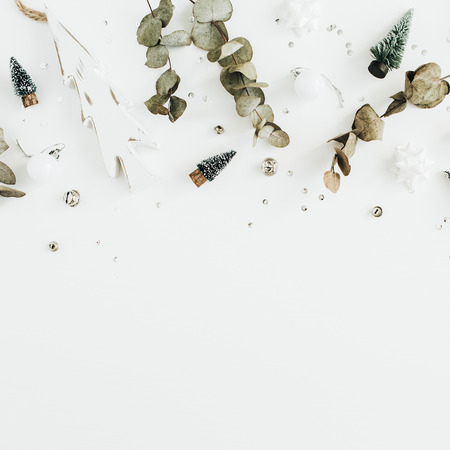 Christmas  New Year composition on white background. Flat lay, top view blog hero header.
