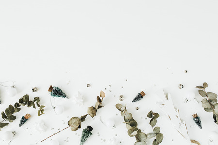 Christmas  New Year festive composition on white background. Flat lay, top view blog hero header.