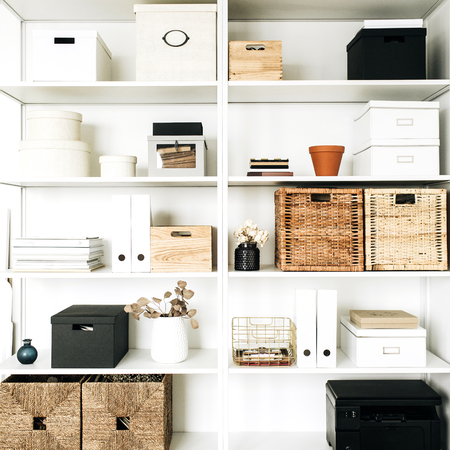 Modern home office cabinet interior design concept.