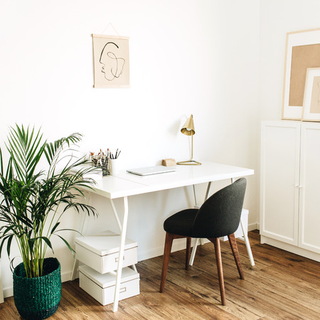 Modern minimal Scandinavian nordic interior design concept. Home office workspace with table, chair, palm. Freelancer styled working cabinet.