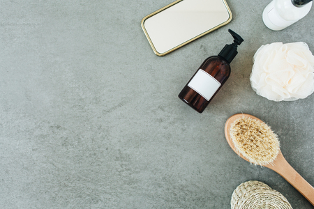 Spa collage. Bath accessories and skin care cosmetics. Flat lay, top view. Reklamní fotografie