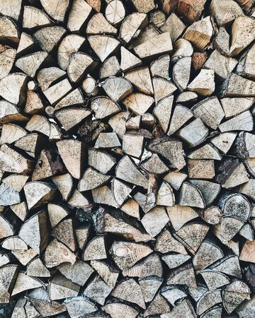 An abstract pattern with woodpiles. Autumn, fall or winter, christmas concept. Stockfoto