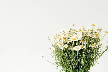 Chamomile daisy flowers bouquet on white background.