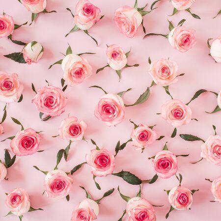 フラットはピンクのバラの花の芽を横たえ、ピンクの背景にパターンを残します。トップビューの花の質感。