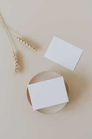 Blank paper cards with mockup copy space and wheat / rye stalks on beige background. Minimal business brand template. Flat lay, top view.