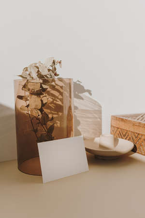 Blank paper sheet card with mockup copy space and dry eucalyptus branch in tan glass vase in sunlight shadows on beige background. Minimal business brand template
