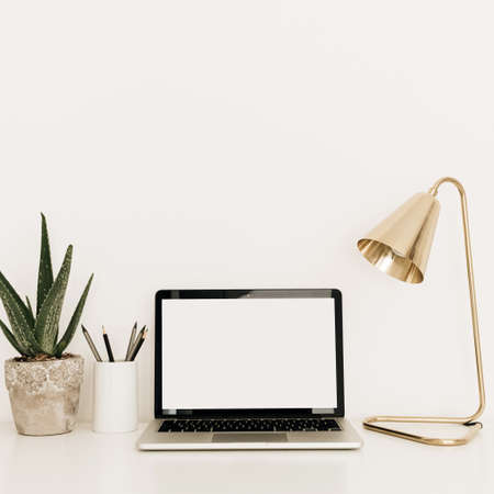 Laptop with blank copy space screen on white table with golden lamp and aloe plant. Minimal home office desk workspace with mockup template. Work at home concept.