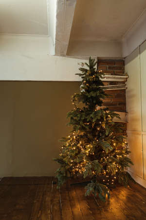 Beautiful Christmas tree with golden garland lights. Living room space decorated for Christmas / New Year celebration.