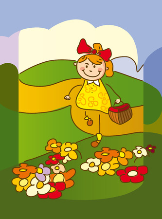 Illustration with a sweet Girl picking flowers