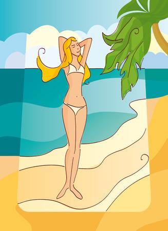 Beautiful blond girl on the sunny beach