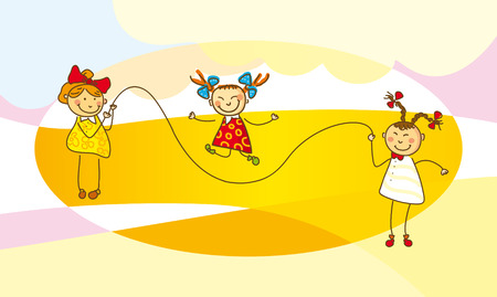 Illustration, girls jump with a skipping rope