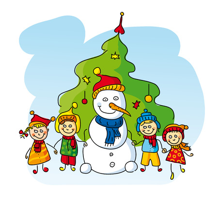 Illustration of cute kids with Snowman and Christmas tree   Illustration