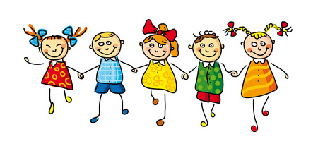 illustration of five kids on white