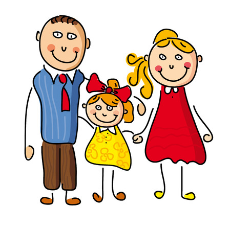 two parent family: Illustration with a happy family, father, mother, daughter    Illustration