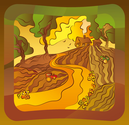 Illustration with a summer solar rural landscape with a sunset