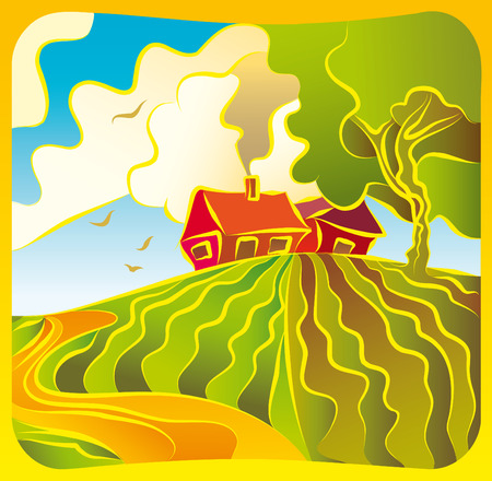 Illustration with a rural landscape with houses