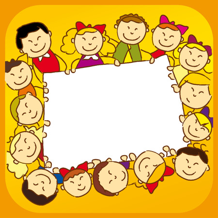 kids holding a sign Stock Vector - 8924712