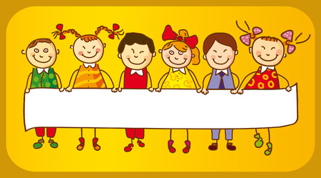 child holding sign: Six Kids with sign   Illustration
