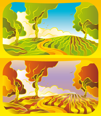 Illustration of a Autumn and summer landscape