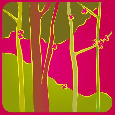 Illustration of a forest in spring   Illustration