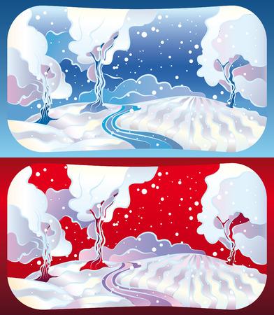 Illustration with a set of 2 winter landscape