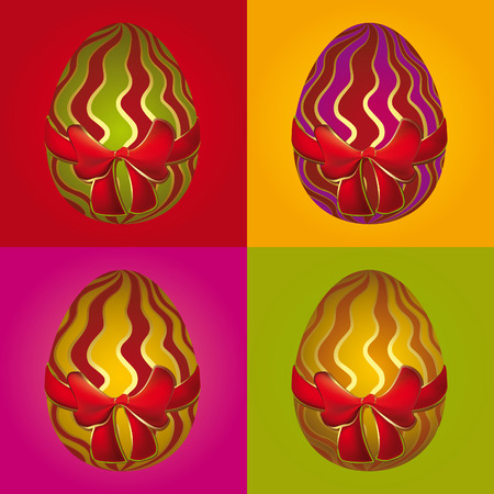 Illustration with a collection of decorative easter eggs