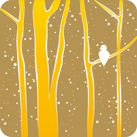 Illustration with a Forest in Winter and Bird
