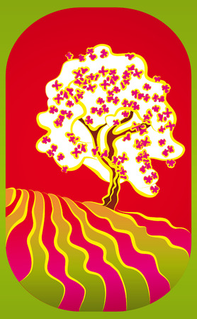 Illustration with a white spring tree in bloom