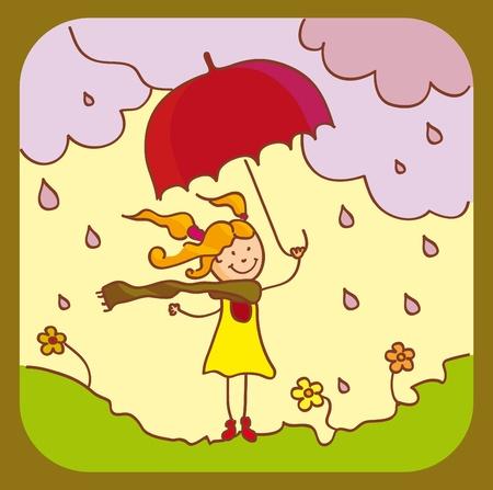 Une fille avec un parapluie rouge Vecteurs